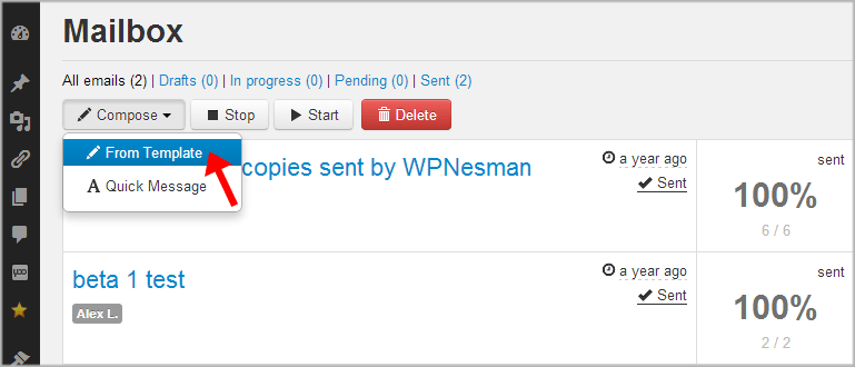 WPNewsman compose email